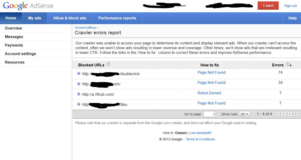 Adsense Crawl Errors