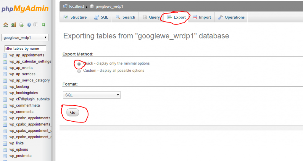 exporting a database in phpmyadmin for WordPress