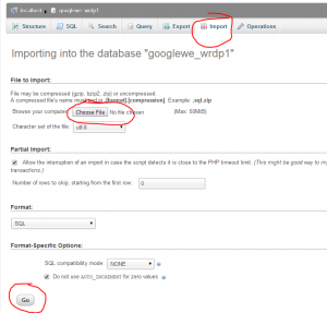 importing a wordpress database in phpmyadmin