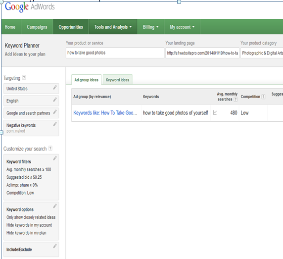 USING THE GOOGLE KEYWORD PLANNER COMING UP SHORT HANDED
