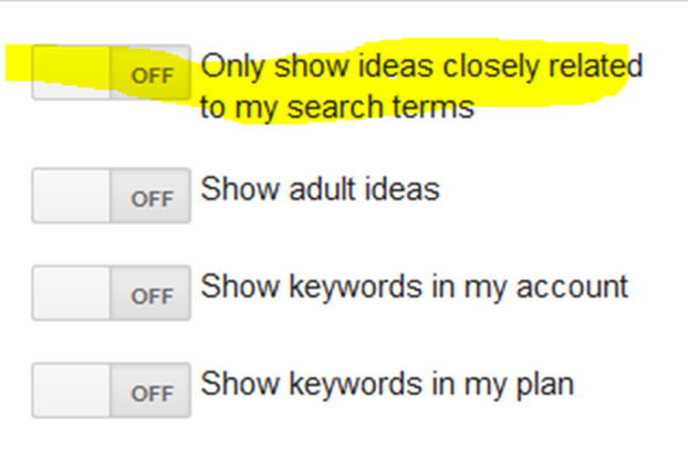 USING THE GOOGLE KEYWORD PLANNER EXCLUDE TERMS