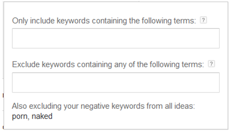 USING THE GOOGLE KEYWORD PLANNER INCLUDE KEYWORDS WITH TERMS