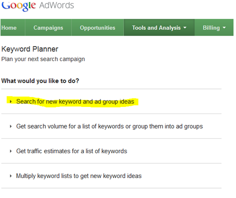 USING THE GOOGLE KEYWORD PLANNER PICKING A PHRASE
