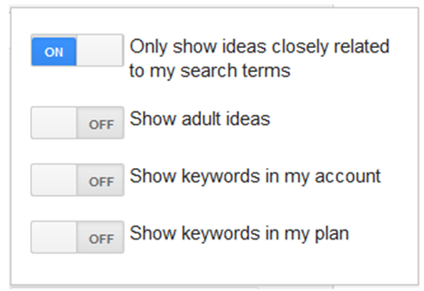 USING THE GOOGLE KEYWORD PLANNER SHOW IDEAS RELATED