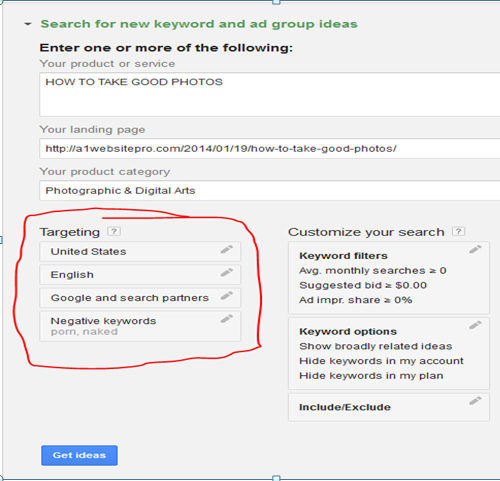 USING THE GOOGLE KEYWORD PLANNER TARGETING AN AREA OR LOCATION