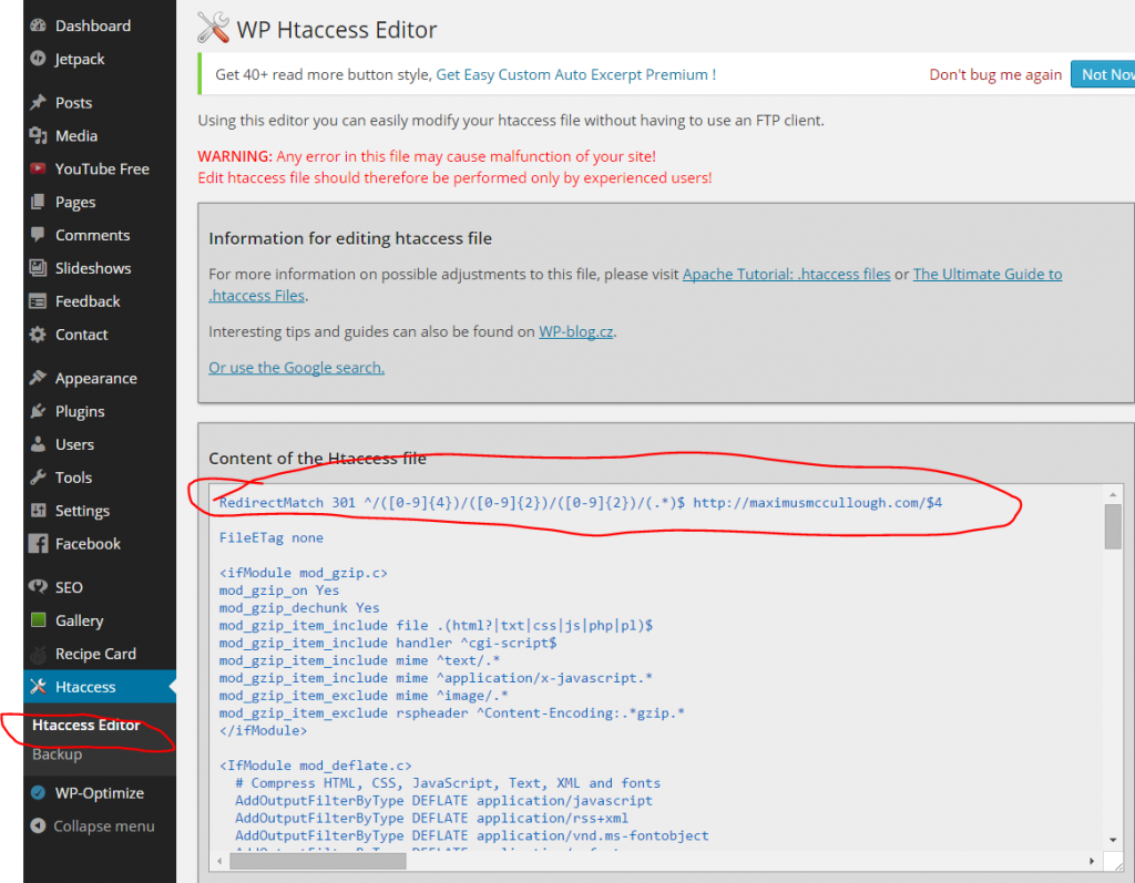Editing the htaccess file for Permalink Redirection