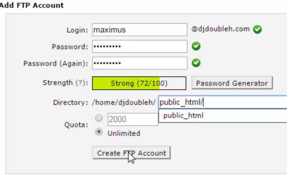 ftp account create 2