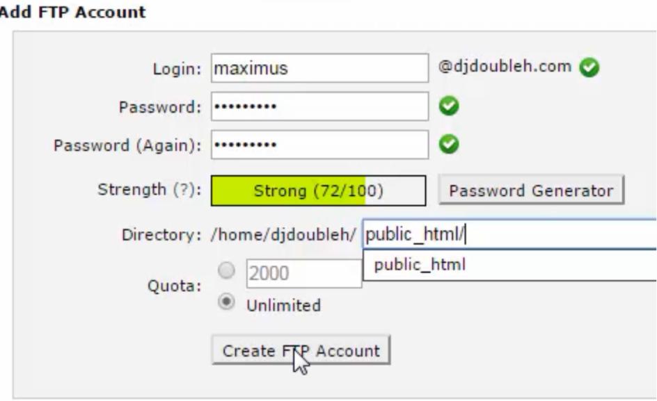 ftp account create 2