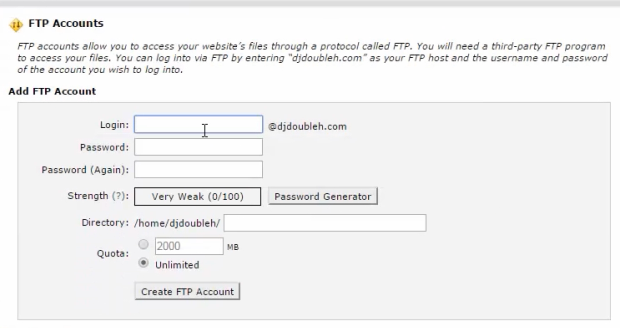 ftp account create