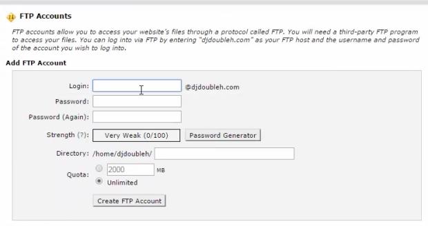 ftp account create