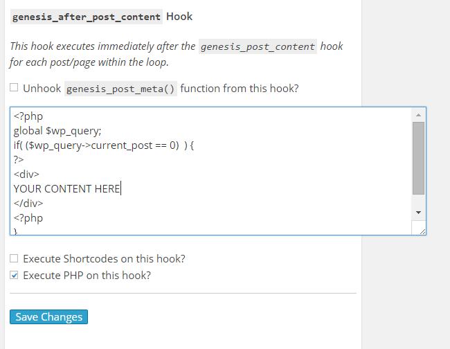 genesis_after_post_content Hook