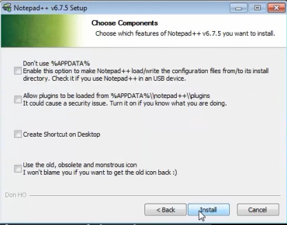 notepad plus plus choose installer