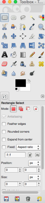 GIMP Rectangle Selection Tool