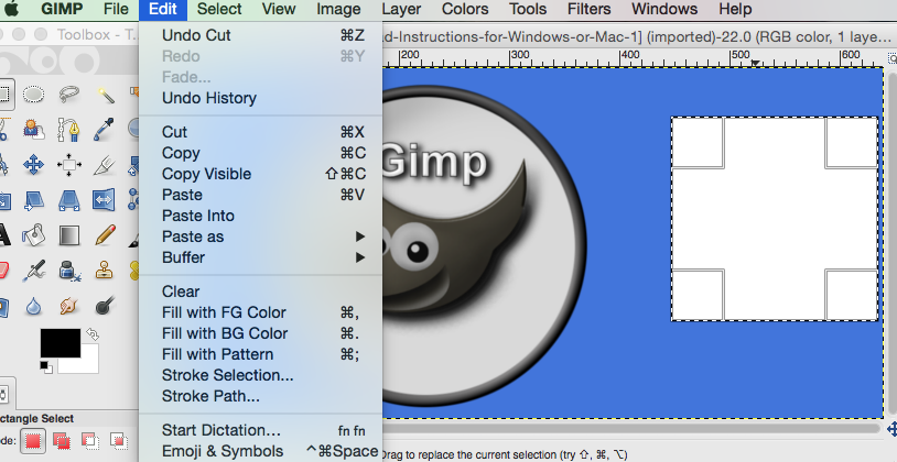 simple example of using gimp selection feature