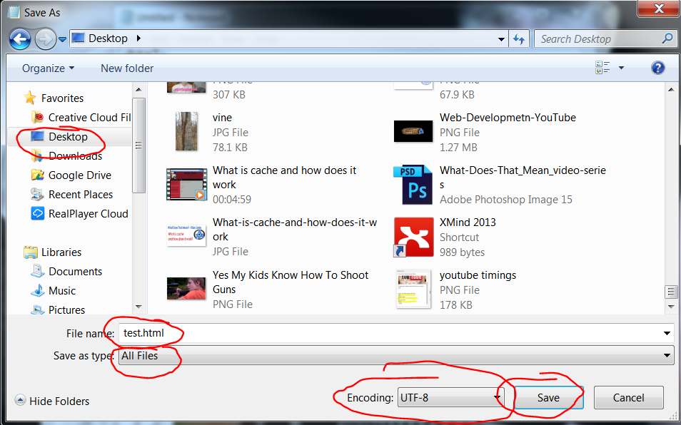 html basics save file as