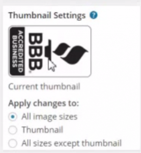 proportionate thumbnails settings in wordpress