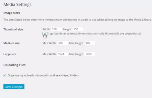 untick crop thumbnail in settings media in wordpress