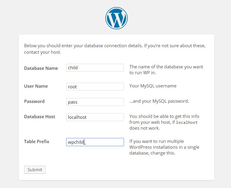 Database Info For WordPress Installation