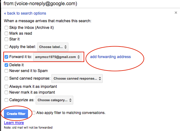 Pick a forwarding email address