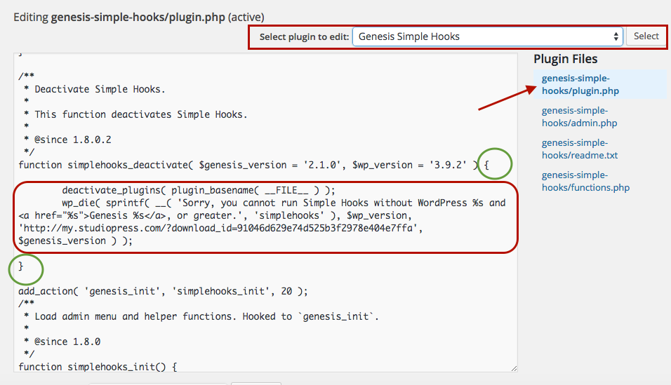 Sorry, you cannot run Simple Hooks without WordPress 3.9.2 and Genesis 2.1.0, or greater.