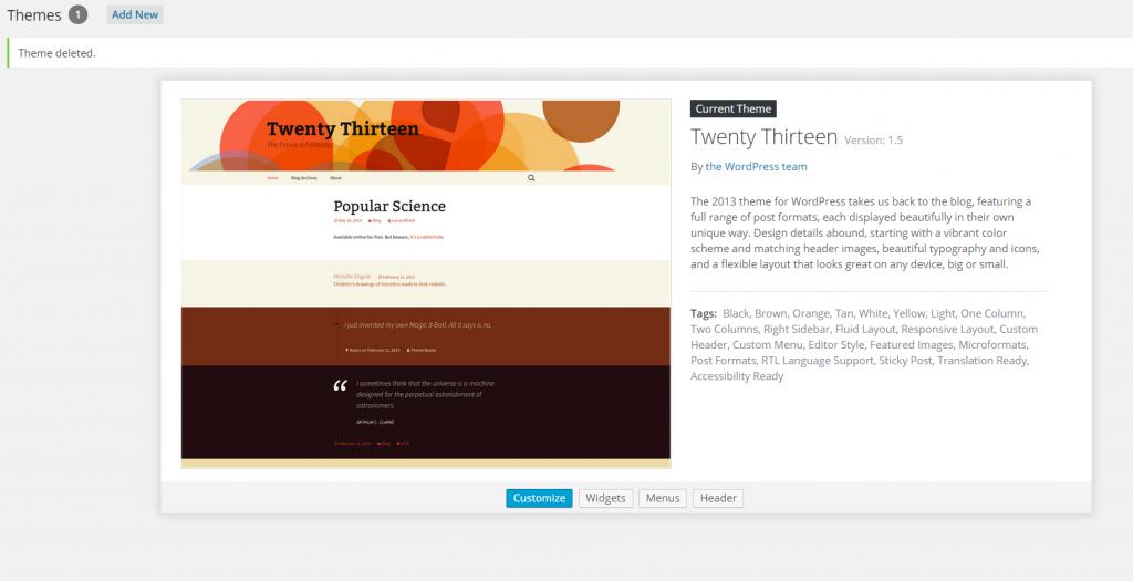 Twenty Thirteen WordPress THeme