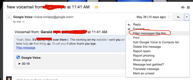 goole voice email to forward  to another gmail account