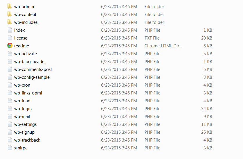 What WordPress Files Look Like After Extraction