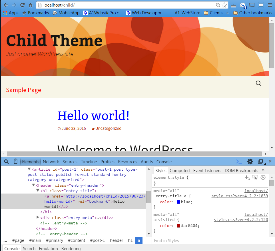change color to blue in css