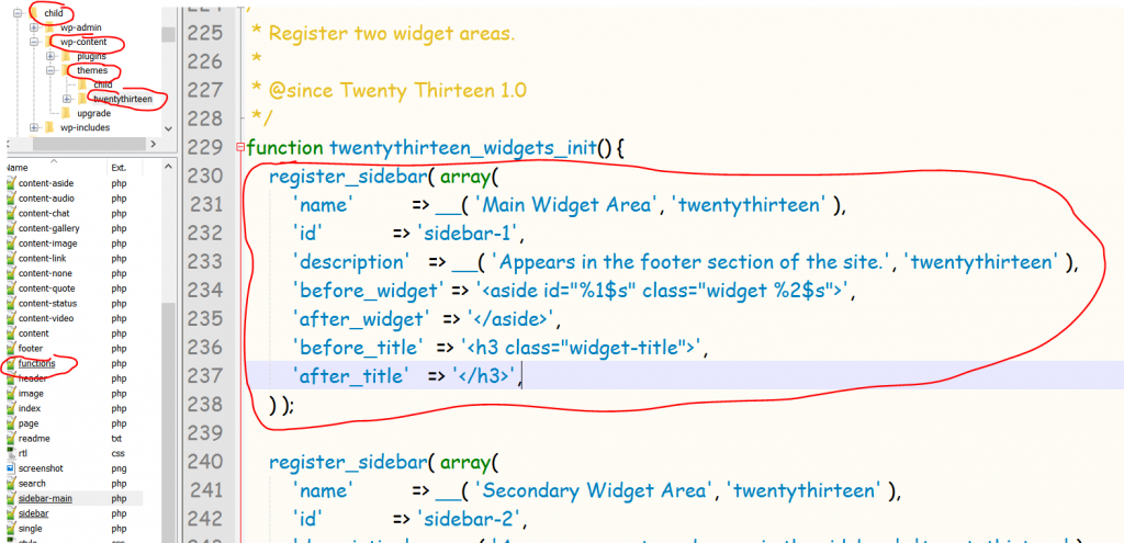 copy widget functions in the parents function.php file