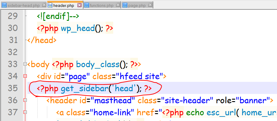 place widget code in header.php after that page div id