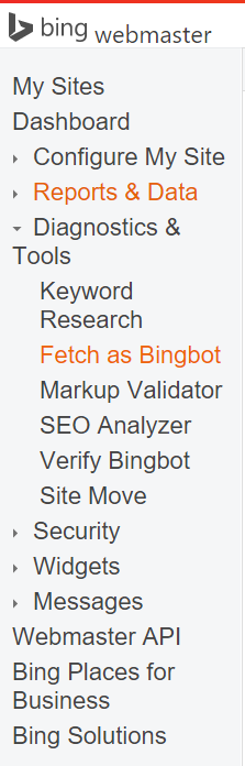 Fetch as Bingbot