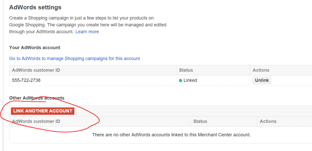 Link AdWords to Google Merchant