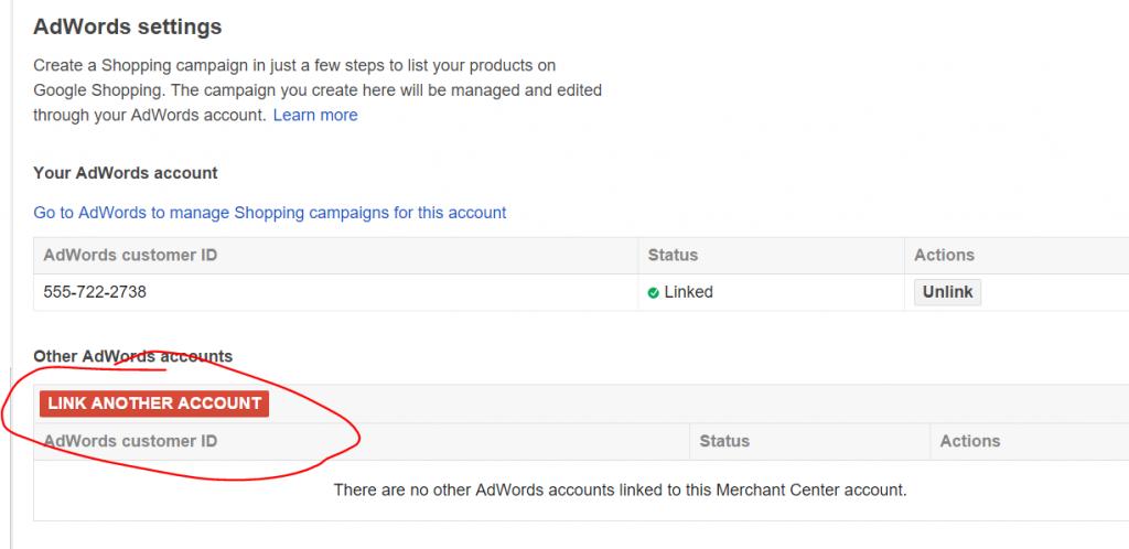 Link AdWords to Google Merchant