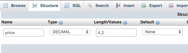 Example of Specifying Decimal Integers in MySql