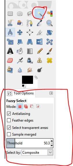 Fuzzy Selection Tool in GIMP