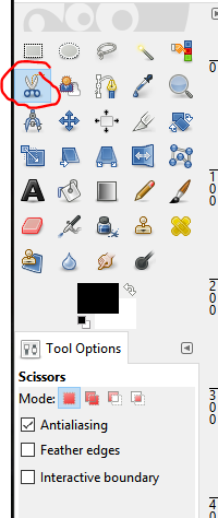 Scissors Select Tool GIMP