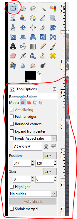 Square Selection Tool in GIMP