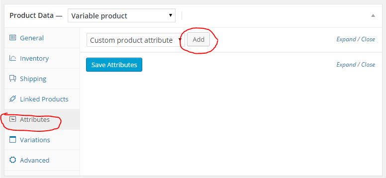 Where to add an attribute in woocommerce variations and swatches