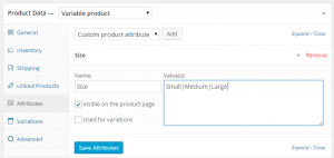 define attribute terms in woocommerce variations and swatches