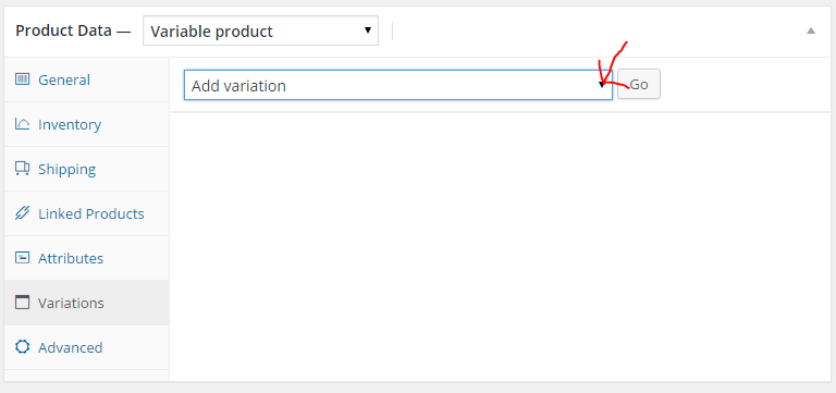 go to variations and select create variations from all attributes