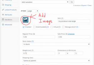 add an image to your product variation data