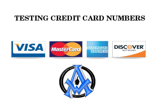 TESTING CREDIT CARD NUMBERS