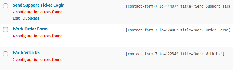 configuration errors in contact form list
