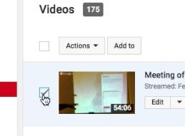 Check box next to video