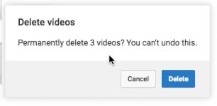 Confirm deleting of multiple videos