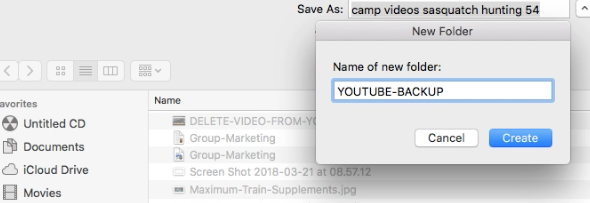 Choose a location to save your YouTube video backups