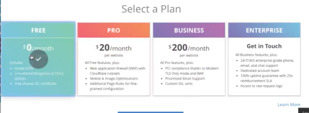 Select Your Cloudflare Plan