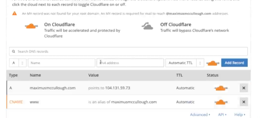 DNS Records At Cloudflare