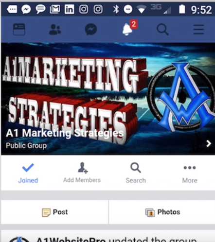 Group Page header live mobile version