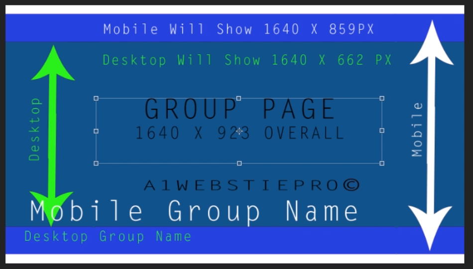 The Over All Size Of Group Page Header Is 1640 Px By 923 White Arrow Shows Mobile View From Blue Top To Bottom